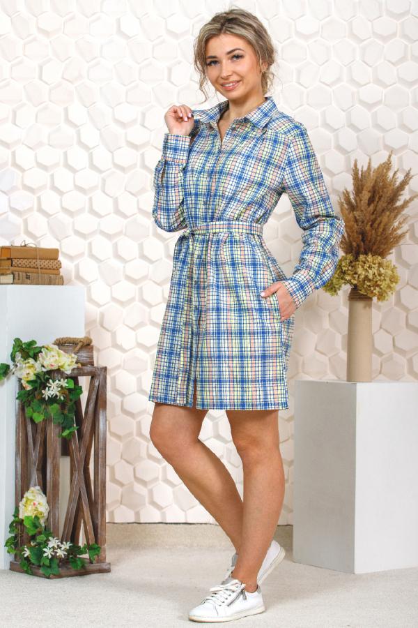 Платье-рубашка в клетку, распашное, желто-синяя клетка