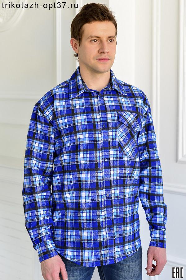 Рубашка в клетку, фланель, длинный рукав, 1 карман