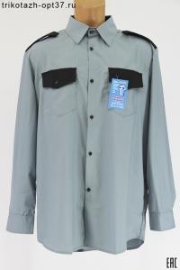 Рубашка охранника серая, с длинным рукавом