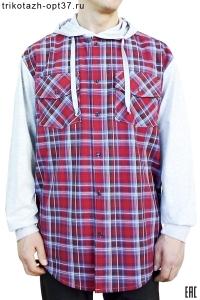 Новинка - Рубашка шотландка с капюшоном, 2 кармана