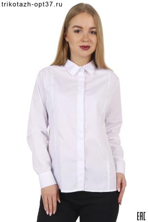 Рубашка женская белая офисная с рельефами