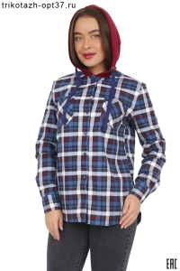 Новинка - Рубашка в клетку женская теплая с капюшоном