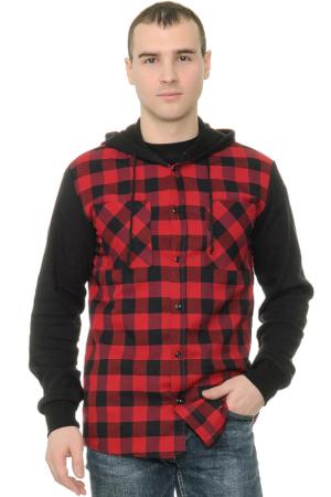 Рубашка в клетку с капюшоном и трикотажными рукавами
