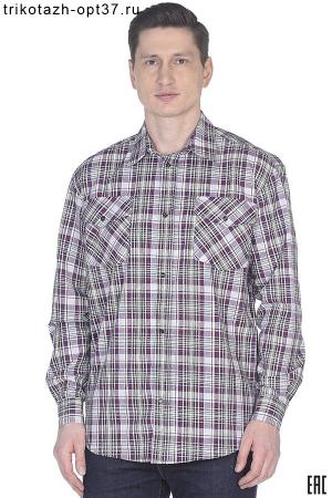 Рубашка в клетку, шотландка, длинный рукав, 2 кармана