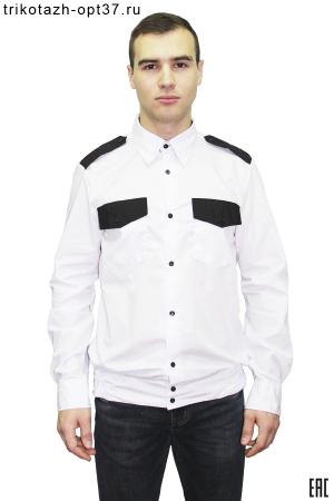 Новинка - Рубашка охранника белая, длинный рукав, на поясе