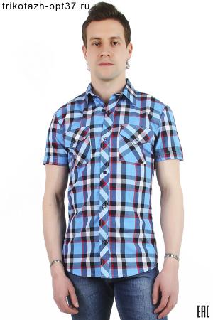 Рубашка в клетку, молодежная, короткий рукав, модель 30