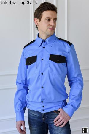 Рубашка охранника, длинный рукав, на поясе