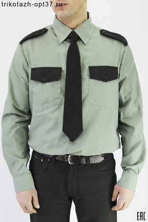 Рубашка охранника, длинный рукав, под заправку, оливковая