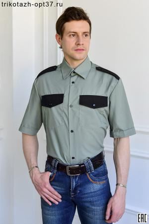 Рубашка охранника, короткий рукав, под заправку, оливковая