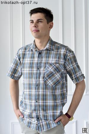 Рубашка в клетку, шотландка, короткий рукав, 1 карман