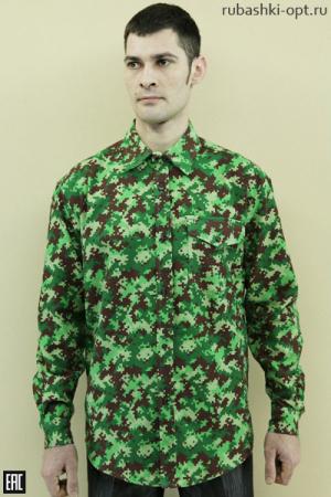Рубашка камуфляж (зелёный), длинный рукав, фланель