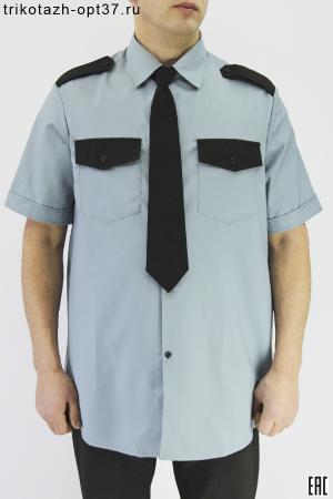 Рубашка охранника, короткий рукав, под заправку, серая