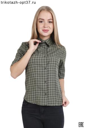 Рубашка в клетку женская, короткий рукав, модель 14