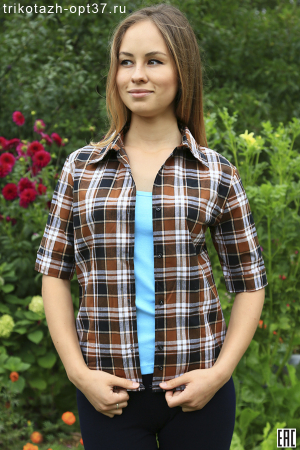 Рубашка в клетку женская, шотландка, короткий рукав