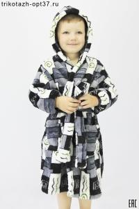 Халат детский запашной, модель ХД-1 (велсофт)
