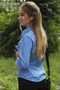 Рубашка однотонная гладкокрашеная офисная женская