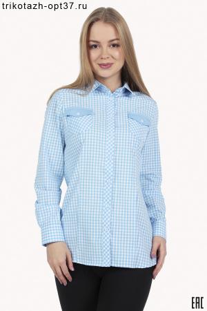 Рубашка в клетку женская, длинный рукав, модель 10