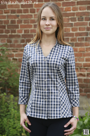 Рубашка в клетку женская, шотландка, рукав 3/4, модель 11