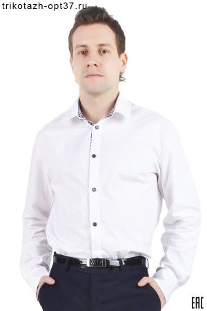 Рубашка белая мужская с отделкой, длинный рукав