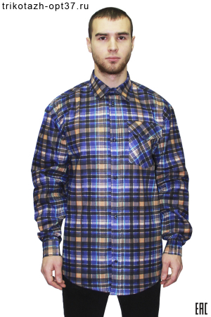 Рубашка в клетку, бязь, длинный рукав,1 карман
