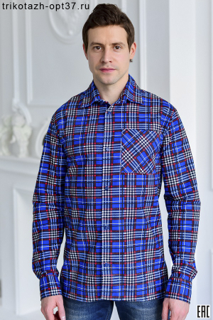 Рубашка в клетку, фланель, длинный рукав, 1 карман, ТУ