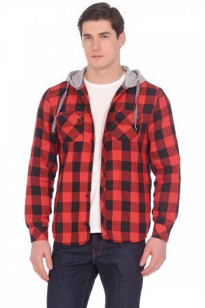Рубашка в клетку с капюшоном, длинный рукав, 2 кармана