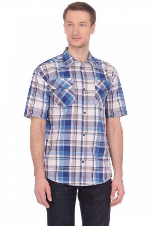 Рубашка в клетку, шотландка, короткий рукав, 2 кармана