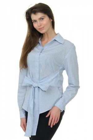 Блузка-рубашка в клетку с поясом-бантом