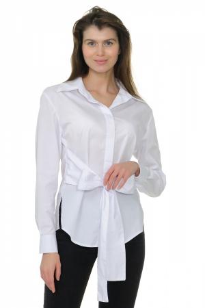 Блузка-рубашка белая, с поясом-бантом