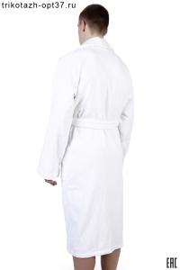 Мужской махровый халат белый с поясом