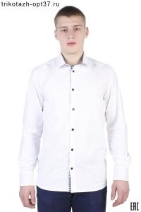 Новинка - Рубашка белая мужская с отделкой, длинный рукав