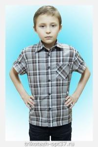 Рубашка детская/подростковая, шотландка, короткий рукав