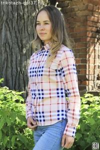 """Новинка - Рубашка в клетку женская, сатин,  """"бёрберри"""""""