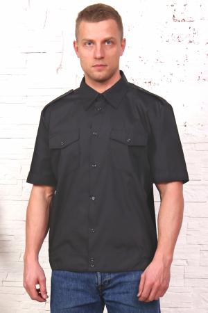 Рубашка охранника, короткий рукав, на поясе, черная