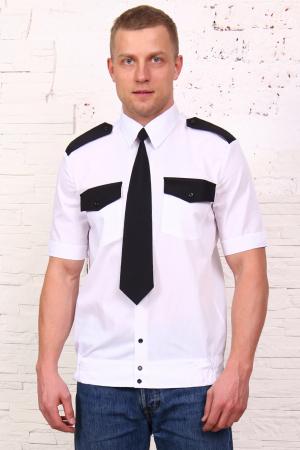 Рубашка охранника белая, короткий рукав, на поясе