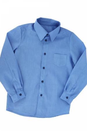 Рубашка школьная белая/голубая, с карманом