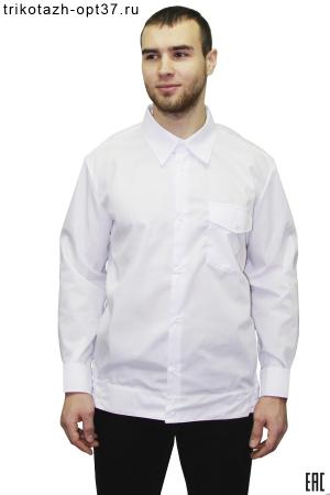 Рубашка охранника, длинный рукав, на поясе, белая, без погон