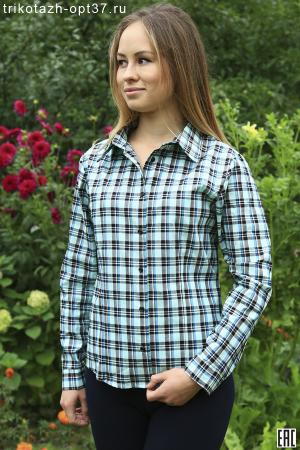 Рубашка в клетку женская, шотландка, длинный рукав